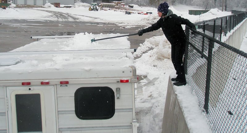 Clearing Snow Off Northstar TC800 Camper