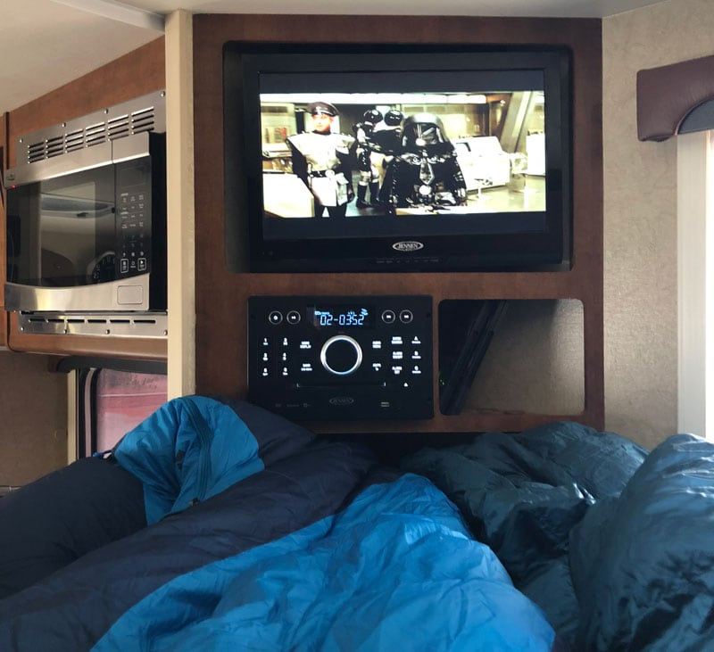 Watching Movie In Camper