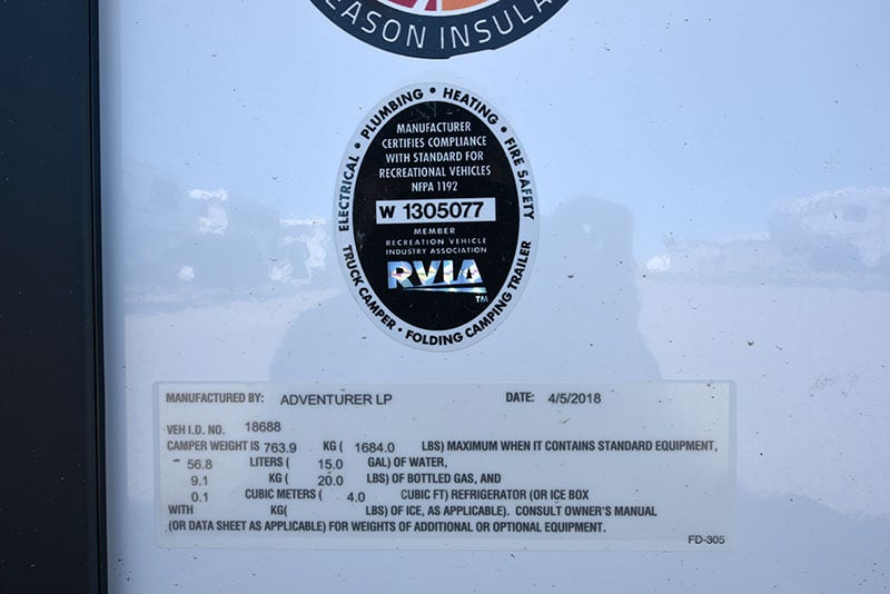 Adventurer 80GS Exterior Weight Sticker 2