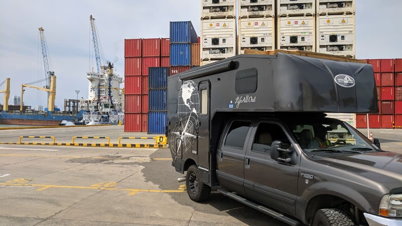 At The Dockyard Shipping A Camper