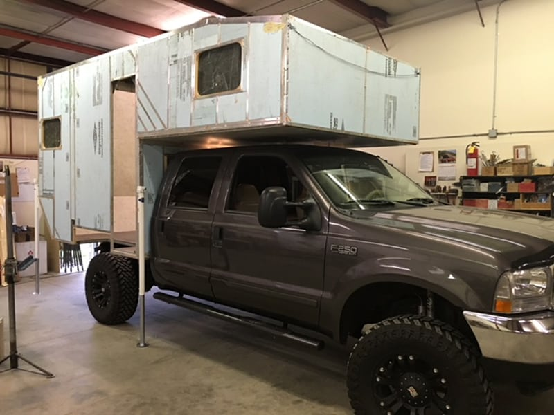 Camper Being Fitted To Truck