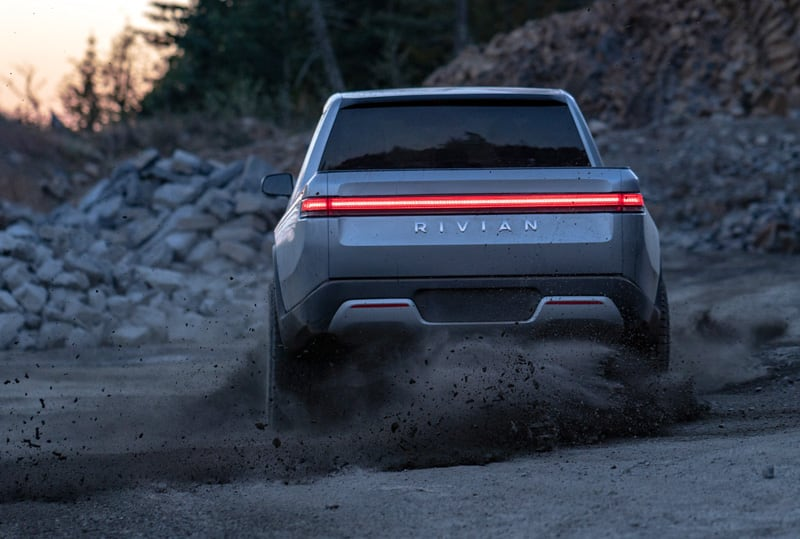 Rivian Electric Truck Off Road Dirt