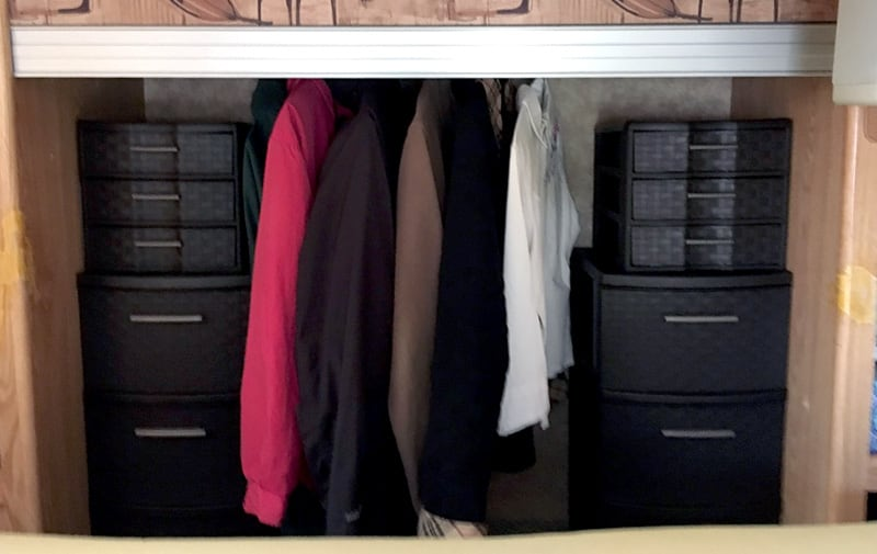 Closet Drawers And Hanging Area