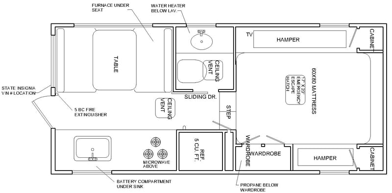 Granite 9RL Camper Floorplan
