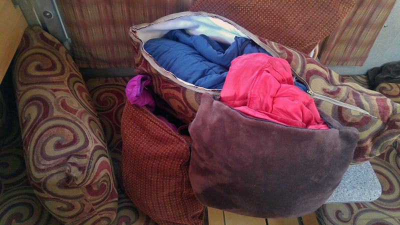 Pillow Storage For Jackets