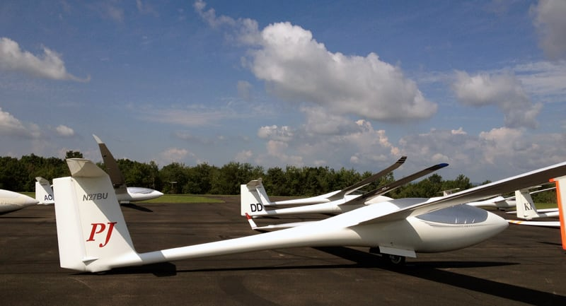 Gliders Lined Up On Air Strip