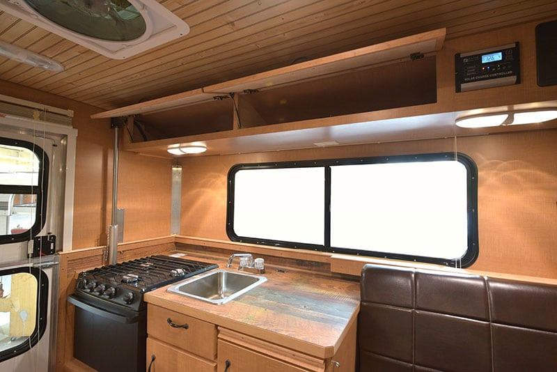 Alaskan Camper Kitchen Upper Cabinets Open