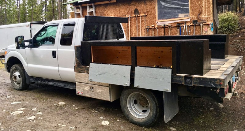 Flatbed Truck Storage Boxes Open