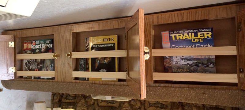 Magazines On Front Of Bunk Storage Compartment