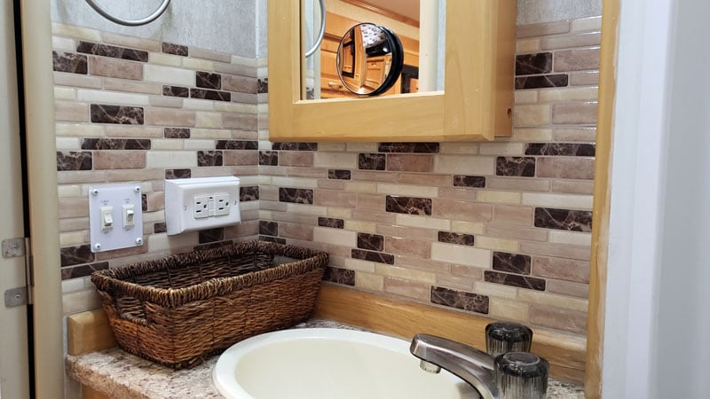 Backsplash Camper Bathroom