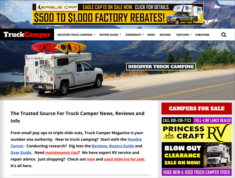 TCM Homepage Featuring Discover Truck Camping