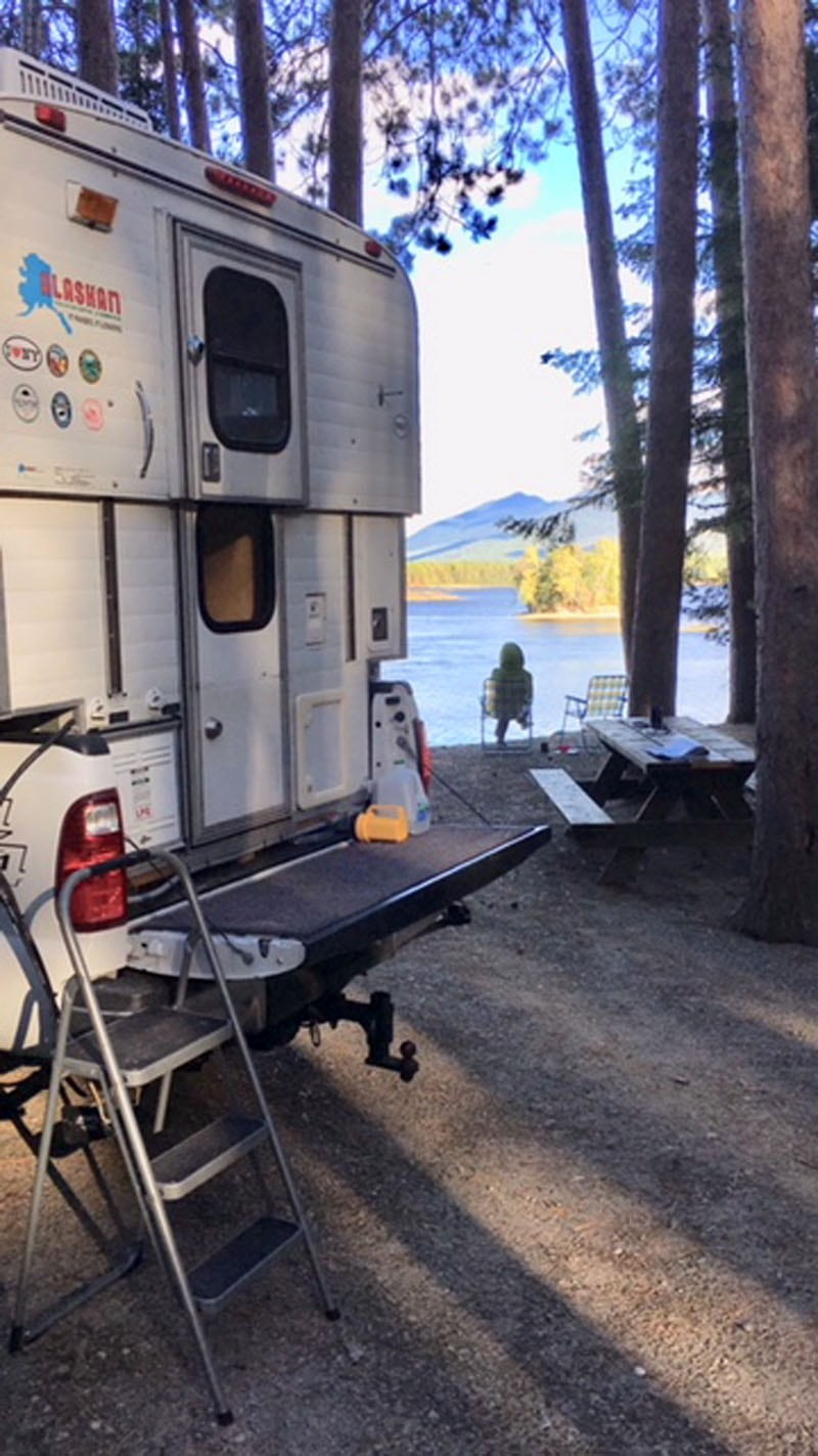 Cathedral Pines Campsite Looking Across Flagstaff Lake With Camper In Foreground And Sheryl At Shoreline