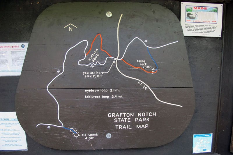 Grafton Notch State Park In Maine Trail Map