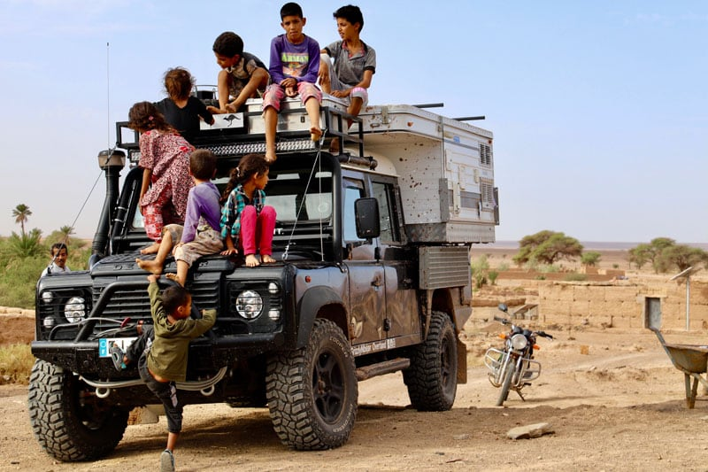 Morocco Kids On Landrover Camper