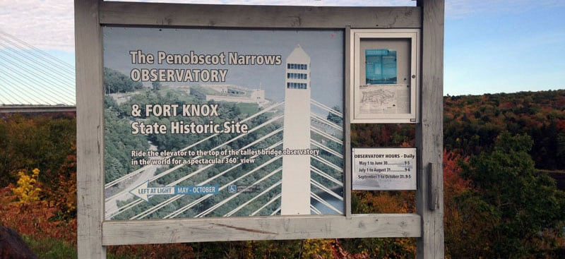 Penobscot Narrows Observatory Sign