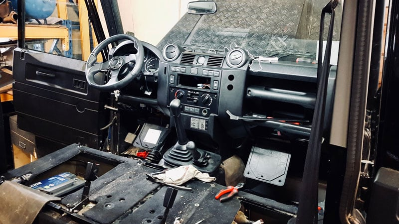Post Accident Rebuild Inside Defender Truck