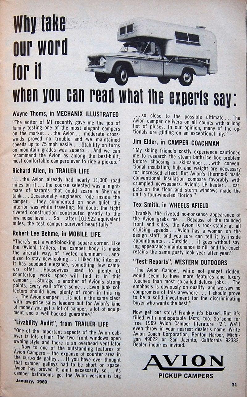 1969 Avion Camper Ad