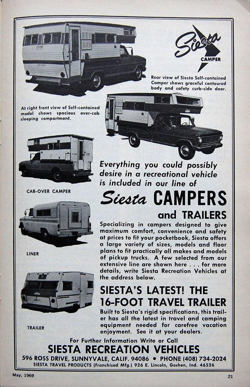 1969 Siesta Camper Ad