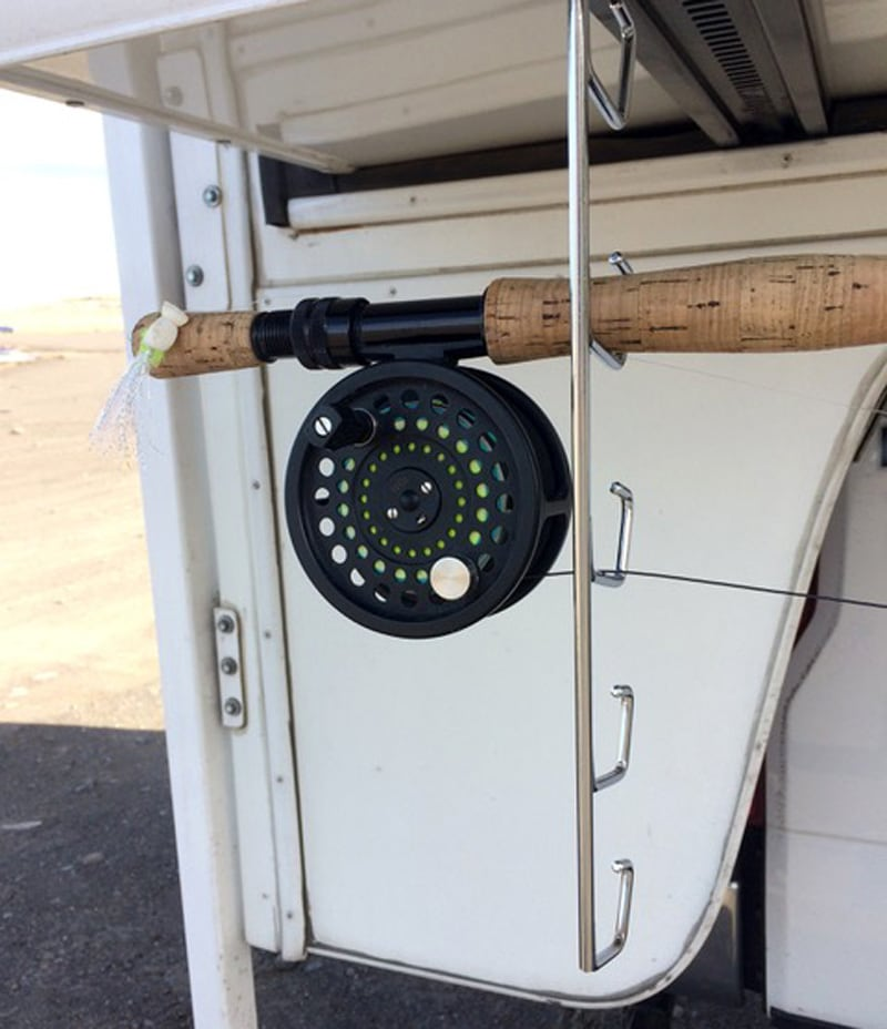 Fly Rods Secured While Camping