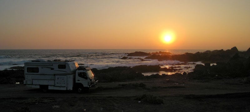 Pacific Ocean Sunset At Camp Site North Of Taltal Chile