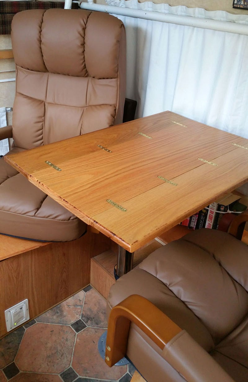 Hinged Camper Dinette Table Opened Up