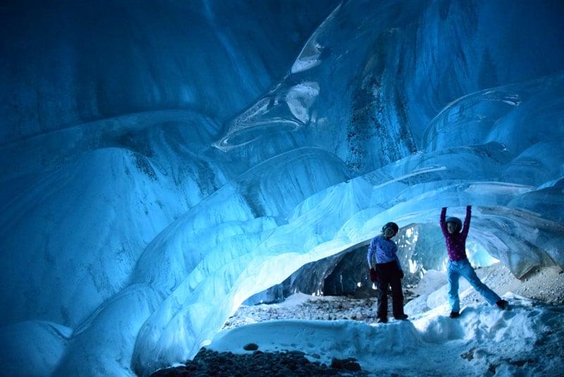 Kids Inside Ice Cave