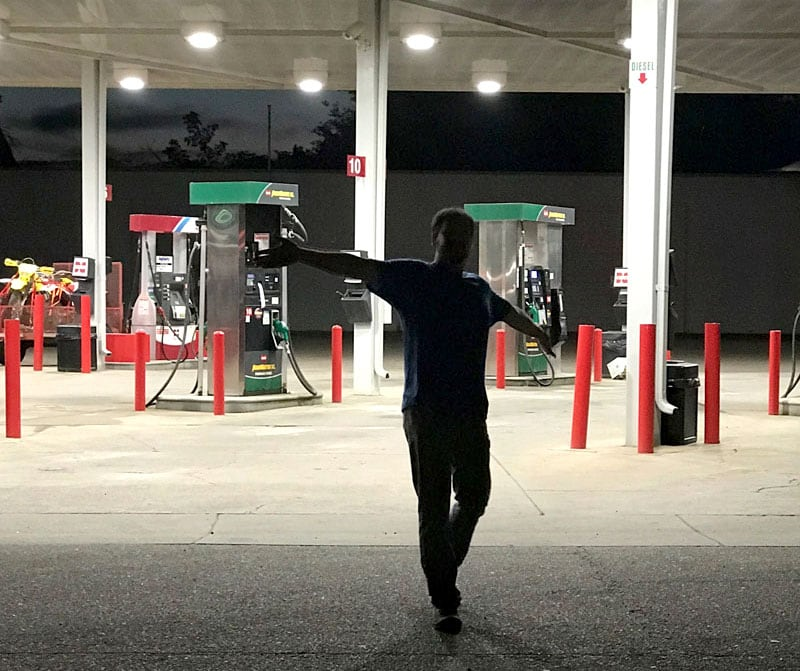 Matt Dancing Through The Gas Station Ready To Head Out