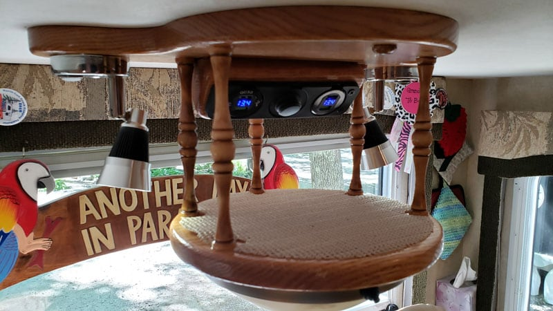 RV USB Charging Station on ceiling of camper