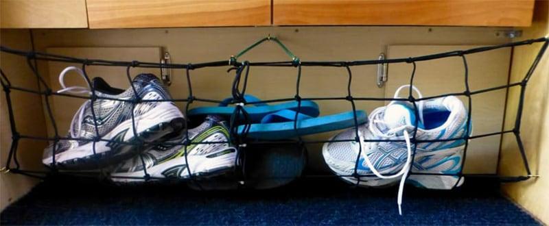 Shoe Storage In Camper Using Cargo Net
