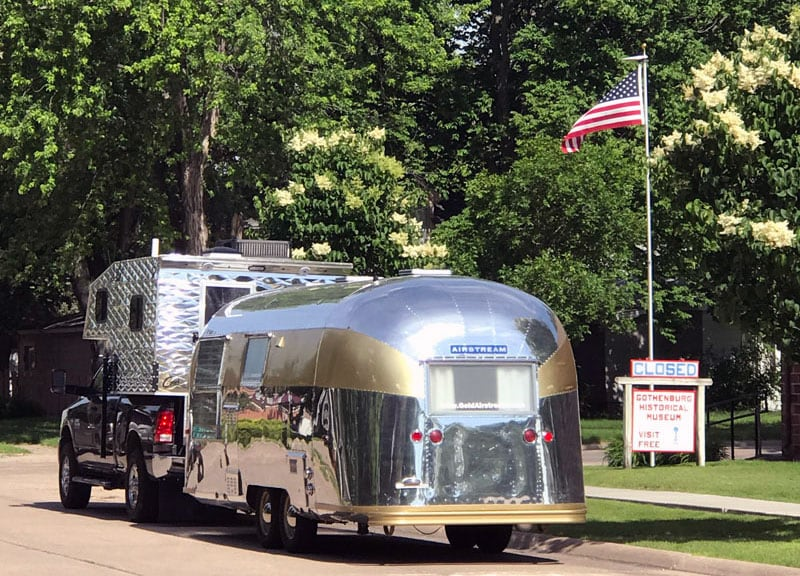 Airstream With Gold Stripes