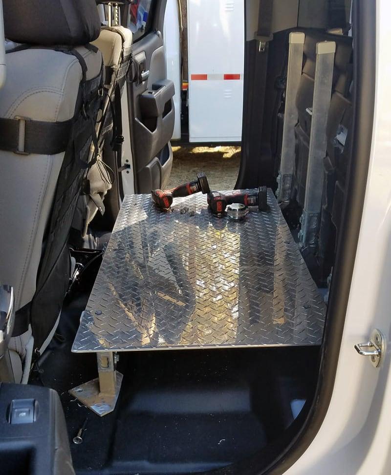 Back Seat Storage Platform Drivers Side