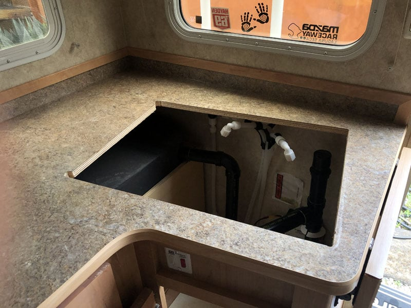 Camper Sink Hole And Plumbing