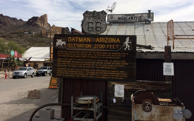Oatman, Arizona Elevation 2700 Feet