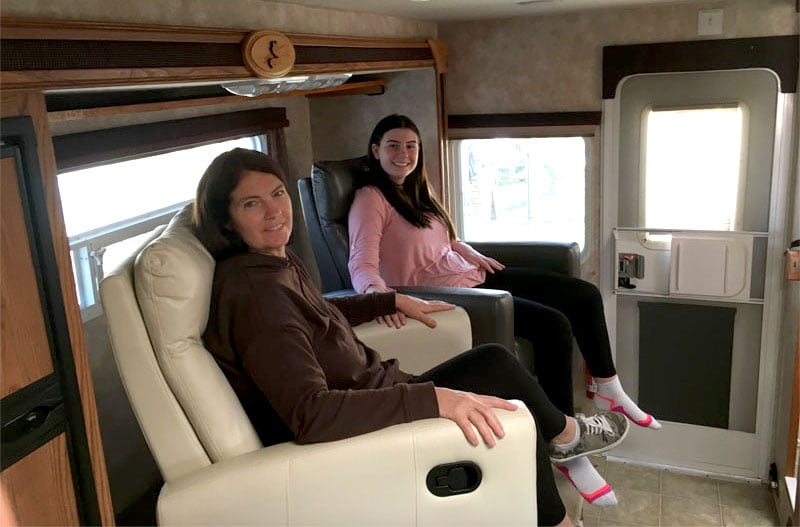 Sitting Comfortably In Recliners In Camper