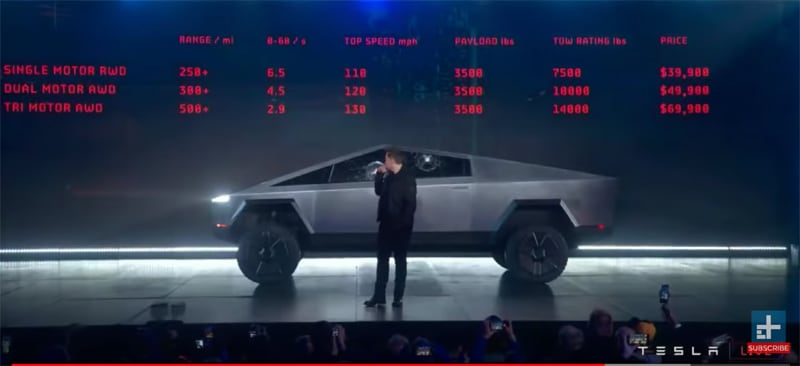 Tesla Cybertruck Stats And Specifications