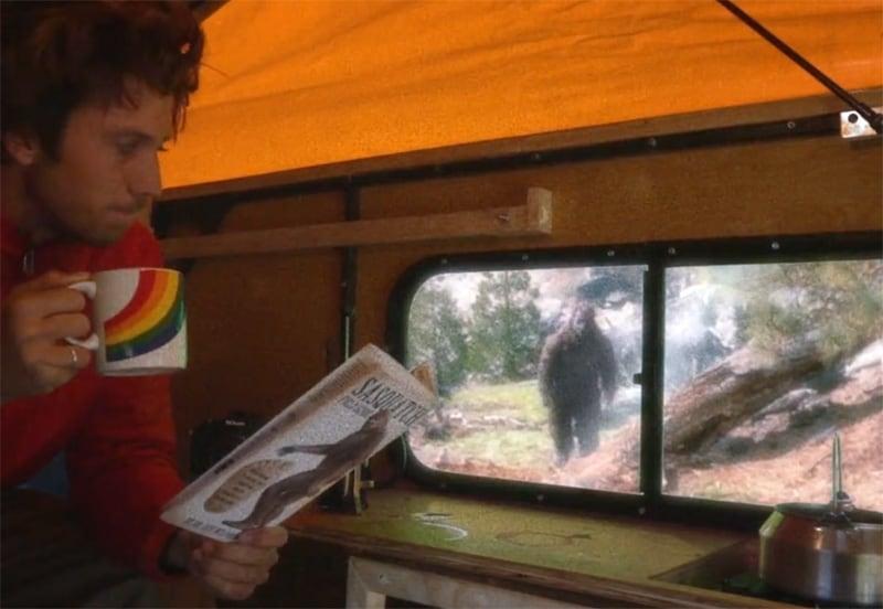 Bigfoot Approaching Camper