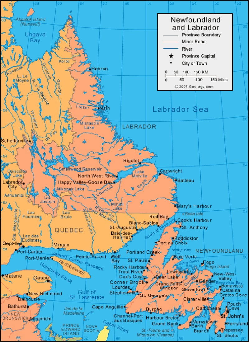 Geology Com Newfoundland And Labrador Map