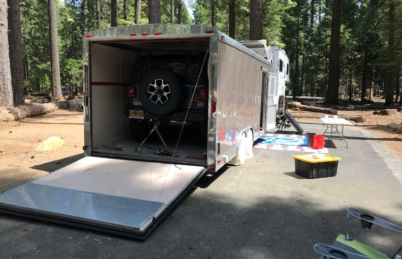 Jeep Wrangler In Enclosed Trailer Campsite