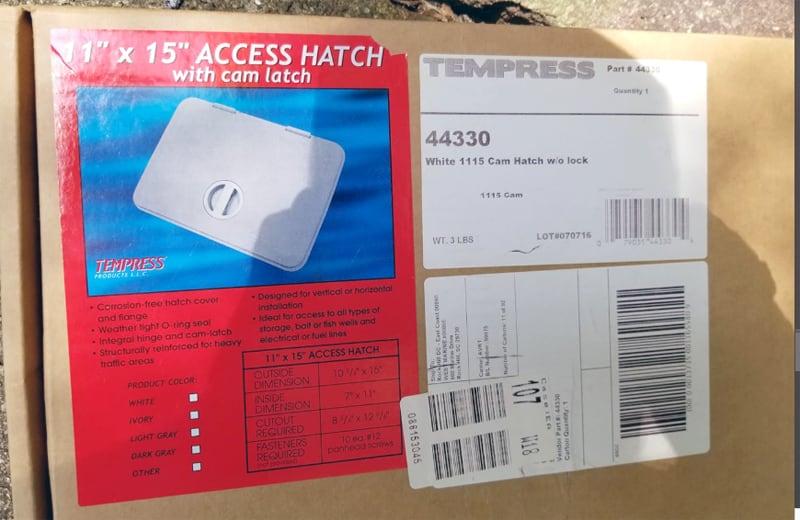 Marine Access Hatch With Cam Latch Box