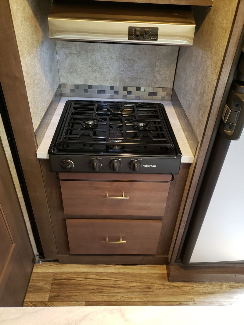 Suburban three-burner cooktop and extra drawer