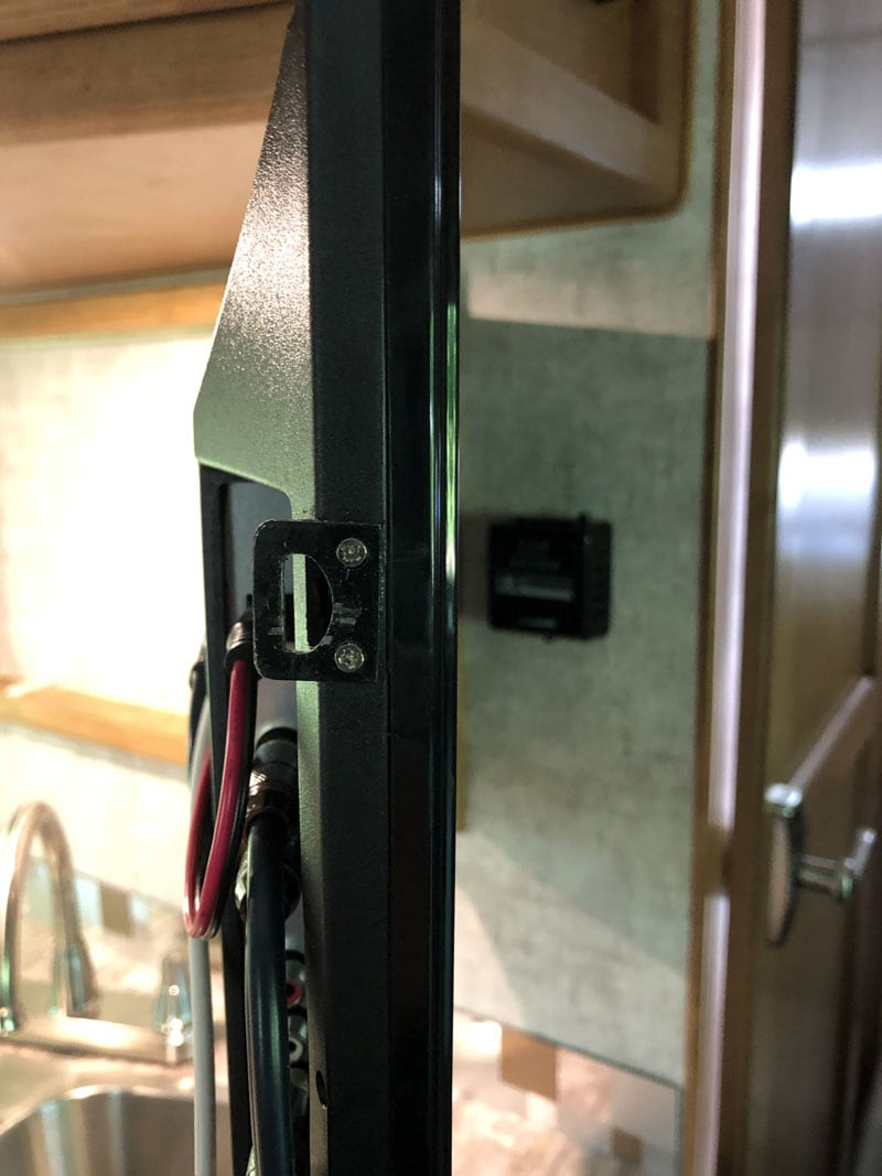 12V Flush Mount TV Close Up of Latch
