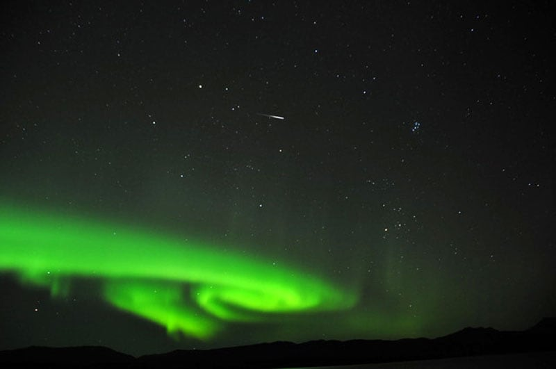 Lake Lebarge Territorial Park Northern Lights With Shooting Star