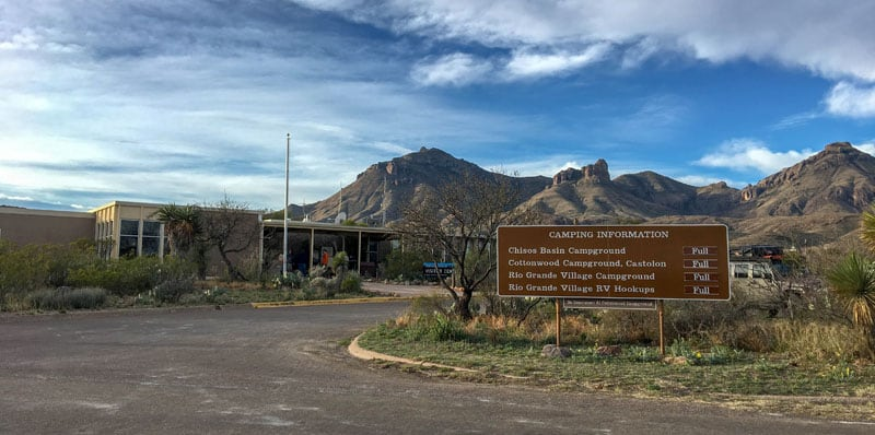 Campground List At Panther Junction In Big Bend