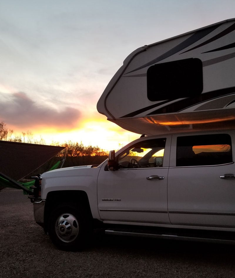 Sunset Over The Camper At Rio Grande Village
