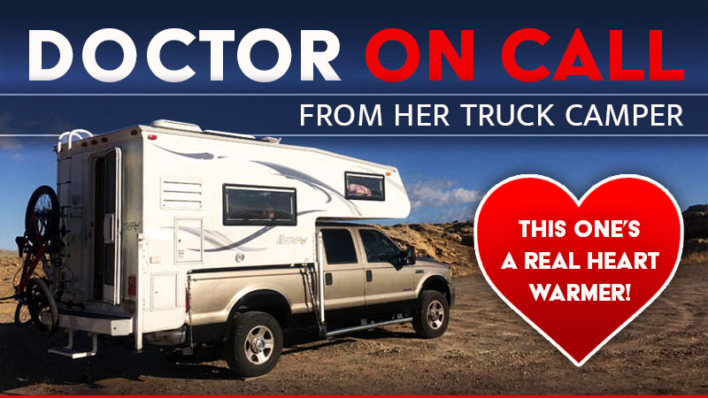 Doctor on call at the hospital with her camper rv