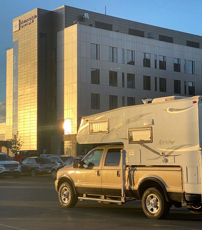 Truck camper at hospital during Covid-19