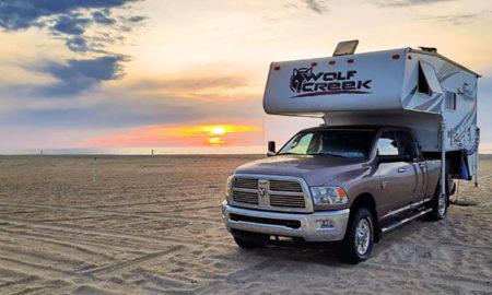 Wolf Creek truck camper at the beach