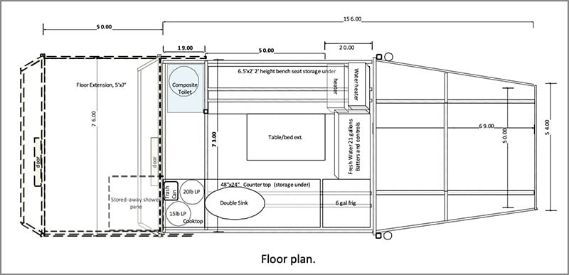Youzan Jin Transformer Camper Floor Plan
