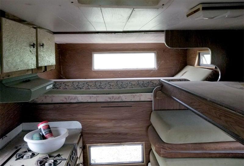 Inside gutted camper