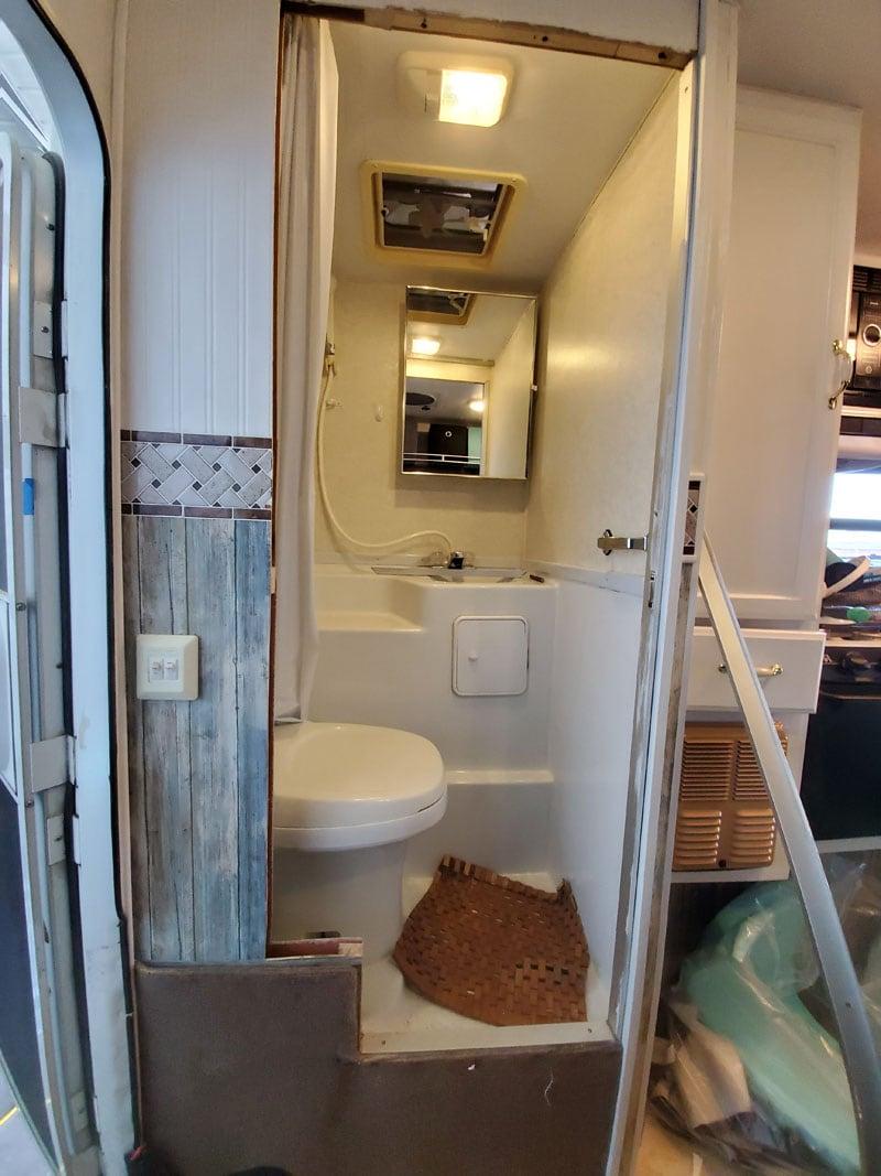 Bathroom Door Off And Wall Widened